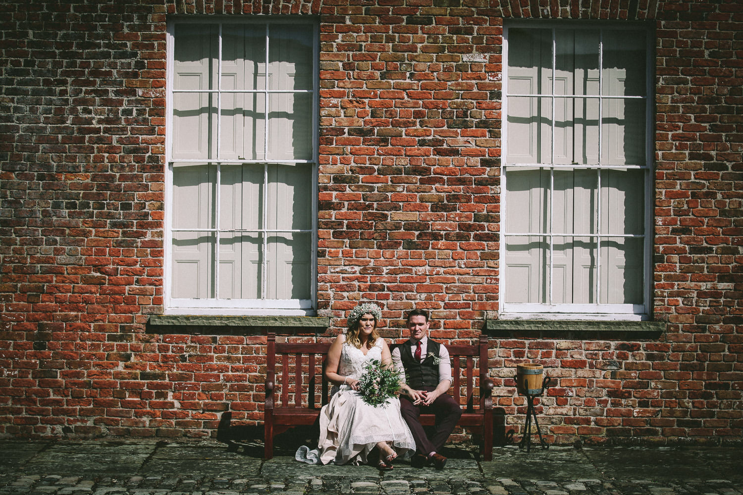 Rustic wedding at Meols Hall Southport bride and groom portrait