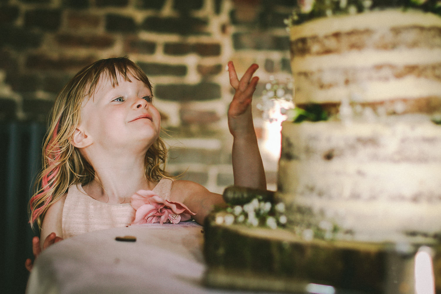 Little girl picking at wedding cake Rustic wedding at Meols Hall Southport