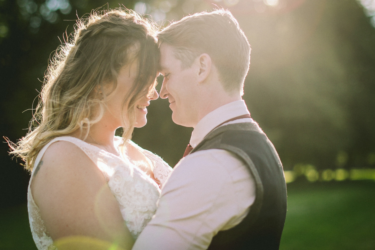 Sunset photo of bride and groom Rustic wedding at Meols Hall Southport