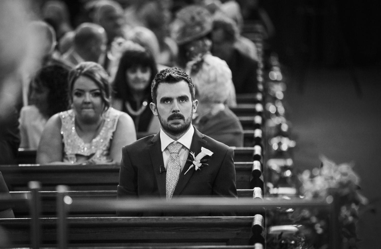 Nervous groom wedding at St Thomas Church Rhyl