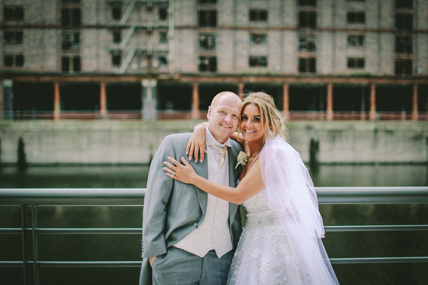 Bride and groom at Titanic Hotel Top 10 wedding venues in Liverpool