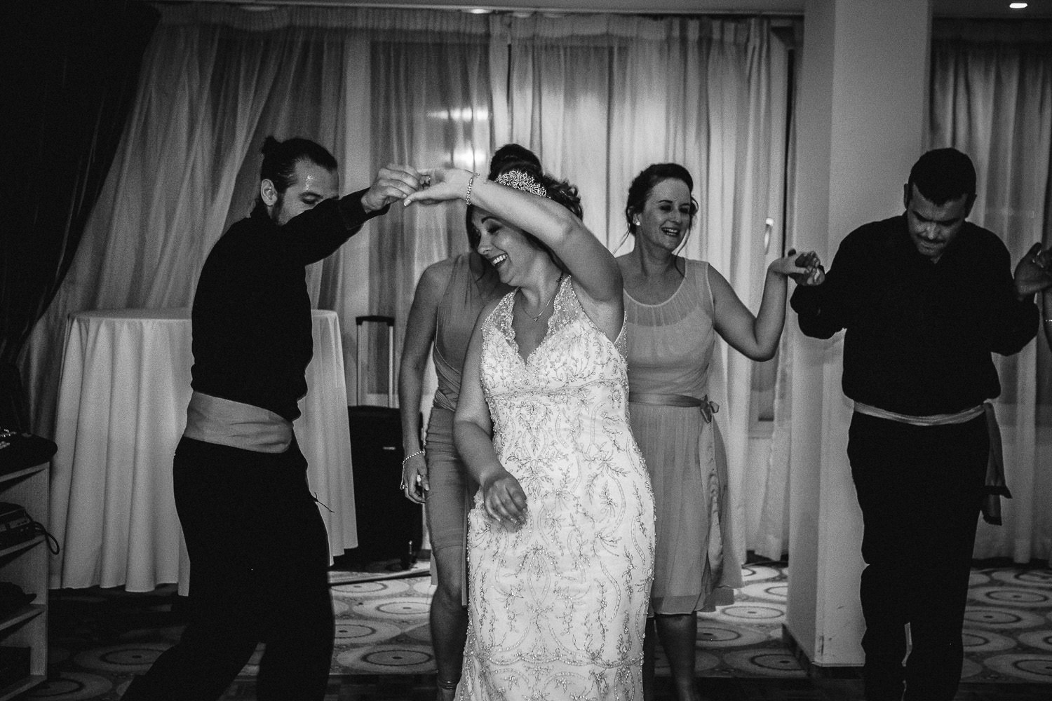 greek dancing Alexander the great hotel Paphos wedding photography