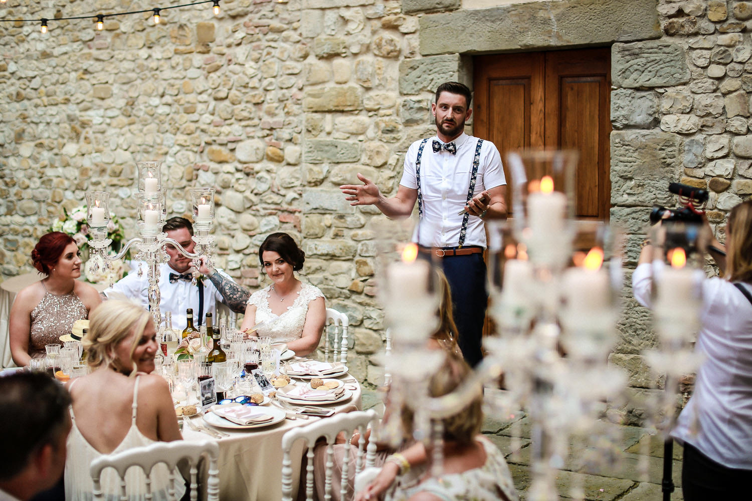 Wedding speeches Castello di bibbione wedding photography Tuscany