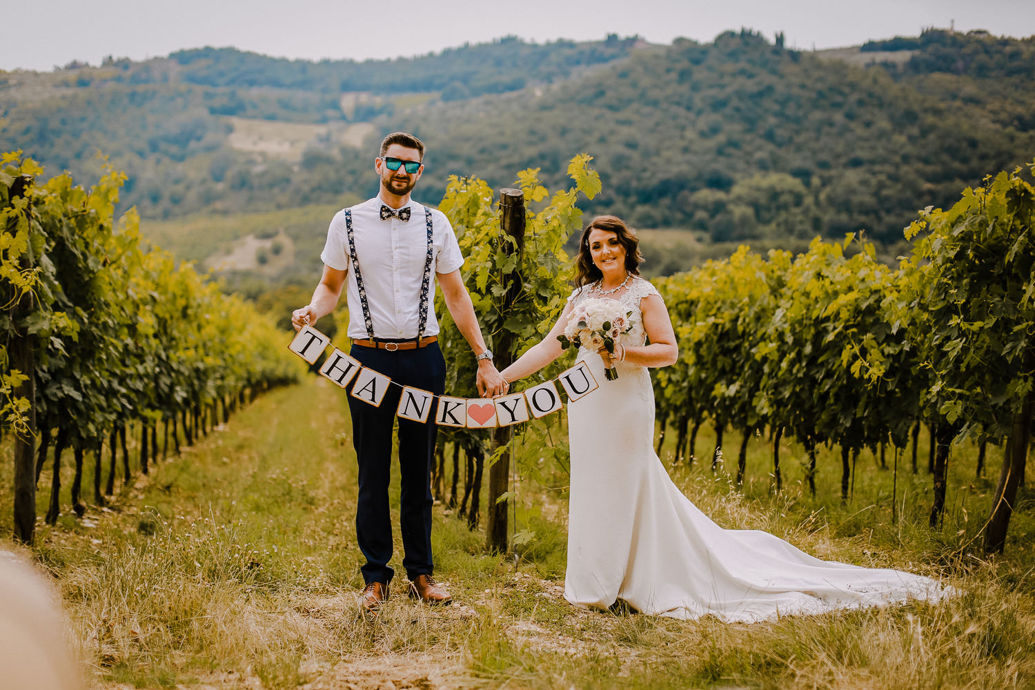 Bride and Groom in Tuscany vine yards