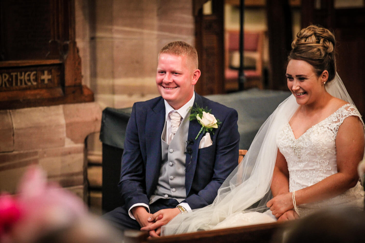 Natural black and white wedding photography Rainford Church Lancashire