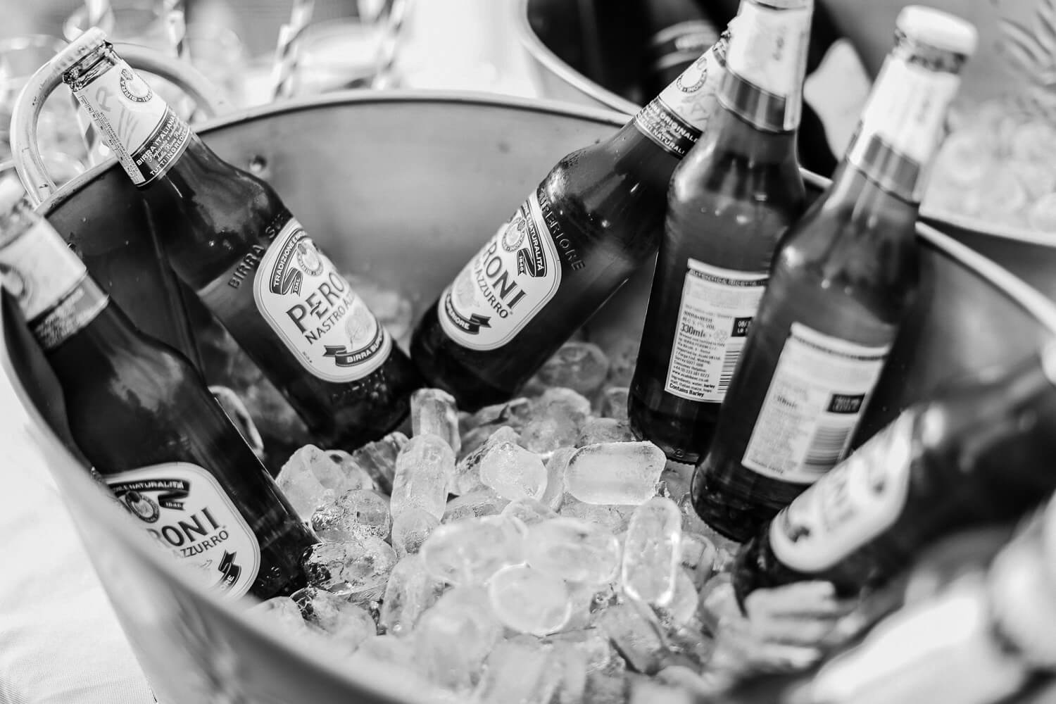 drinks Black and white photo of bride and groom family farm marquee wedding Ormskirk Lancashire Photographer