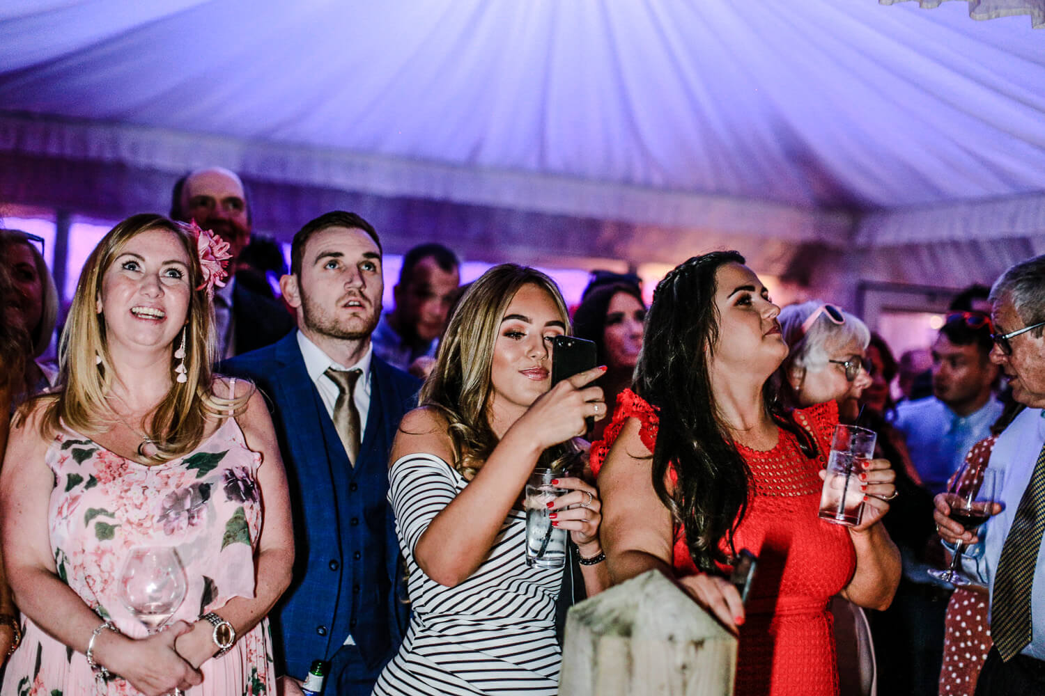 wedding guests dancing family farmhouse marquee wedding Ormskirk Lancashire Photographer