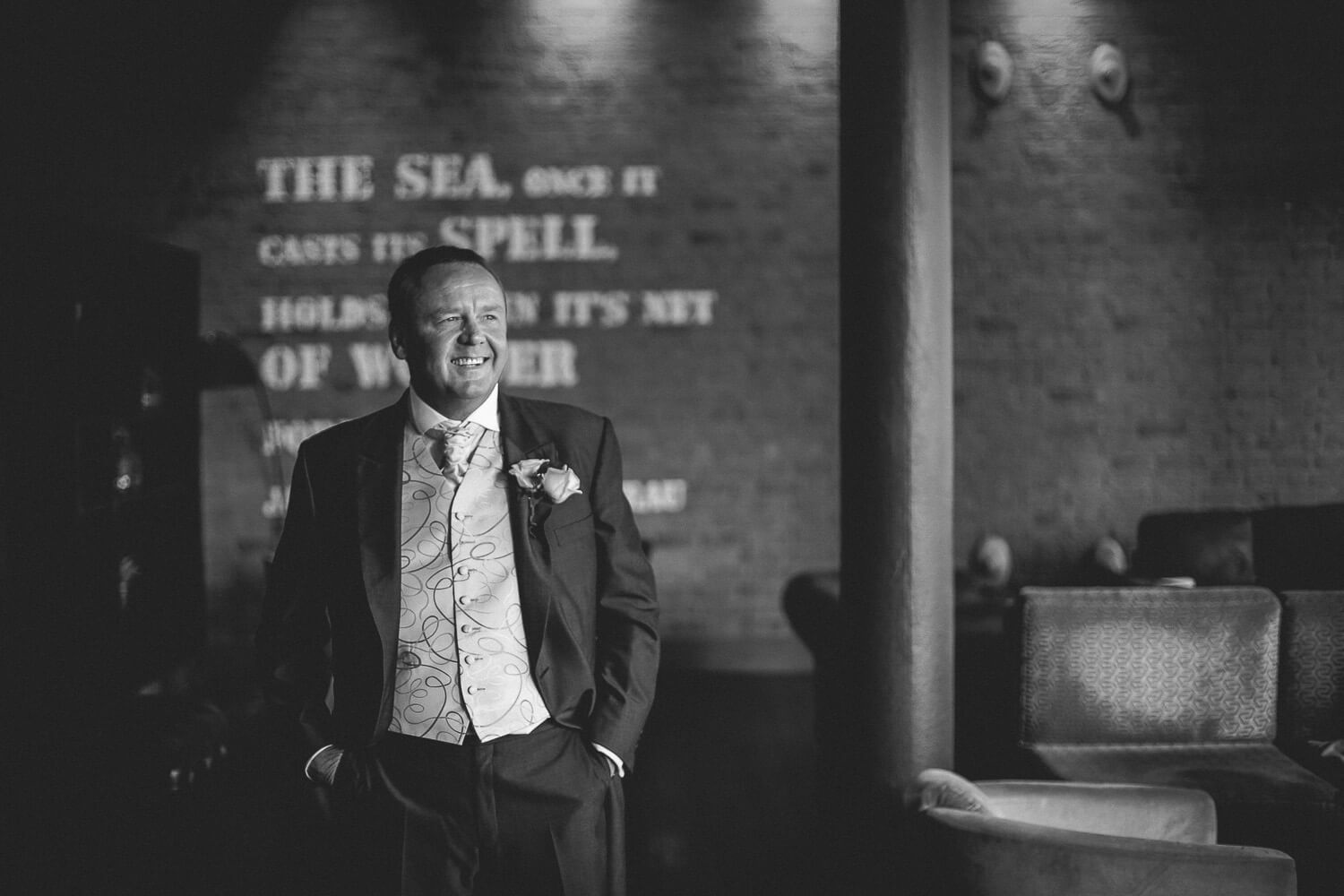 Groom Titanic Hotel Wedding Liverpool.