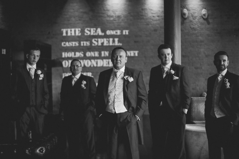Groom and Ushers portrait Ceremony Titanic Hotel Wedding Liverpool.