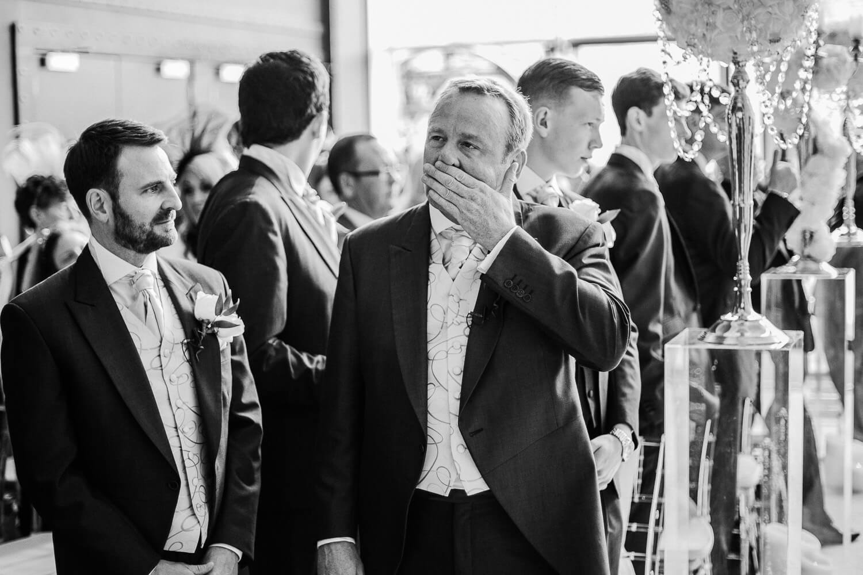 Nervous groom Ceremony Titanic Hotel Wedding Liverpool.