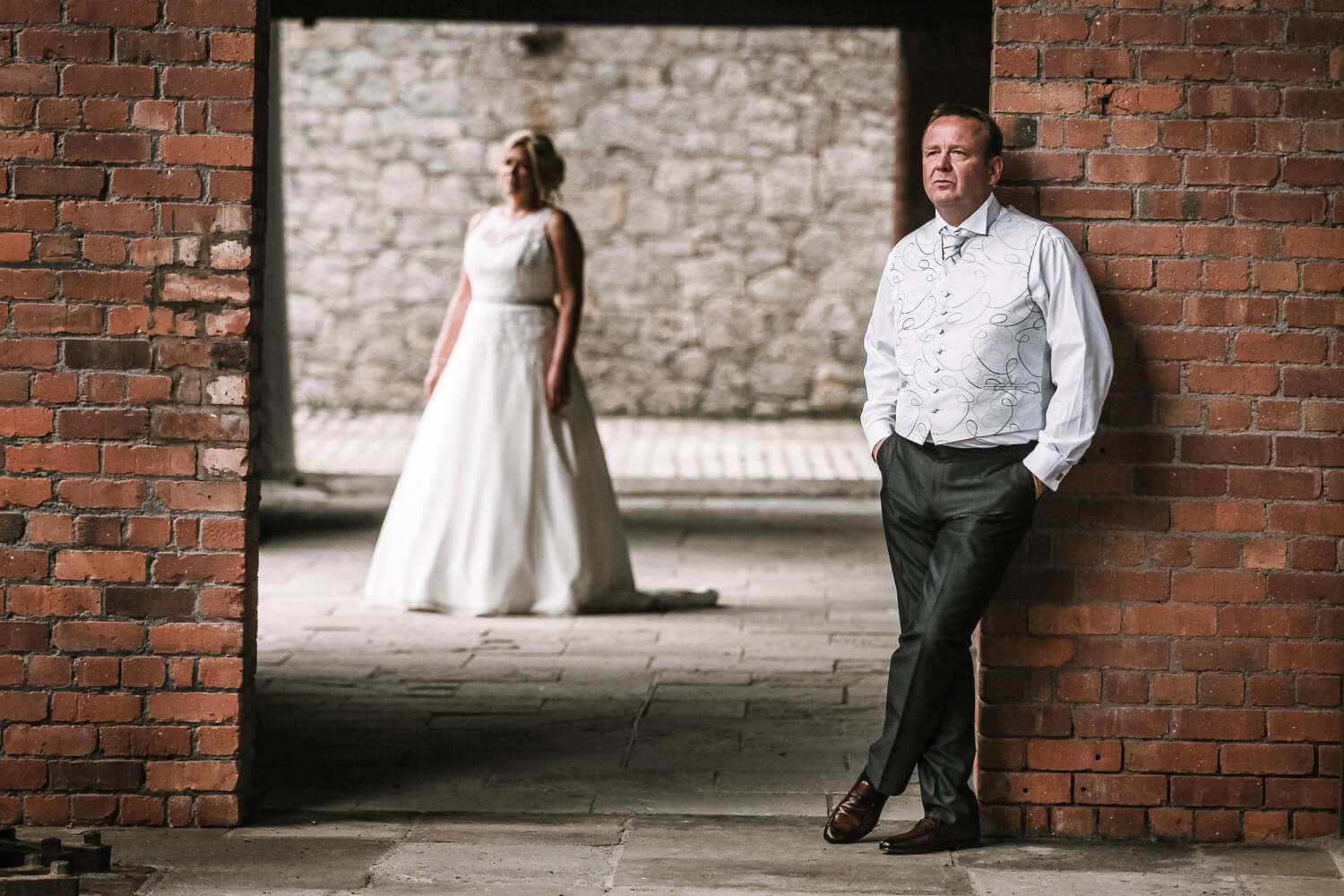 Bride and groom portraits Titanic Hotel Wedding Liverpool.