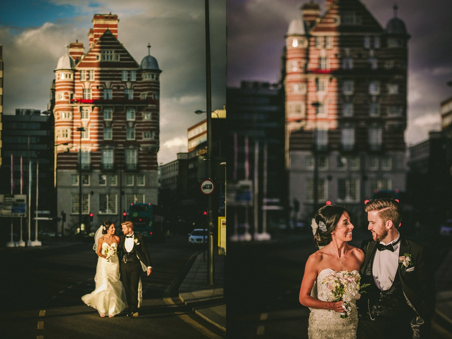 Bride and groom walking away from 30 James Street Liverpool wedding photography