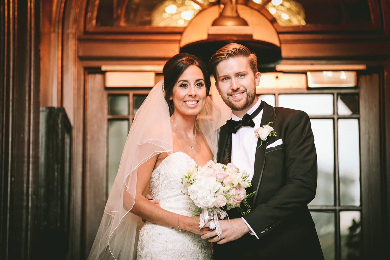 Bride and groom standing in doorway of 30 James Street hotel Liverpool