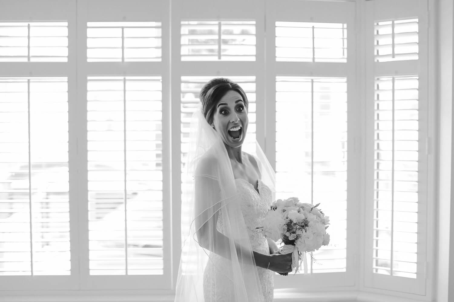 bride fully reaction on wedding boring 30 James Street Liverpool wedding photography