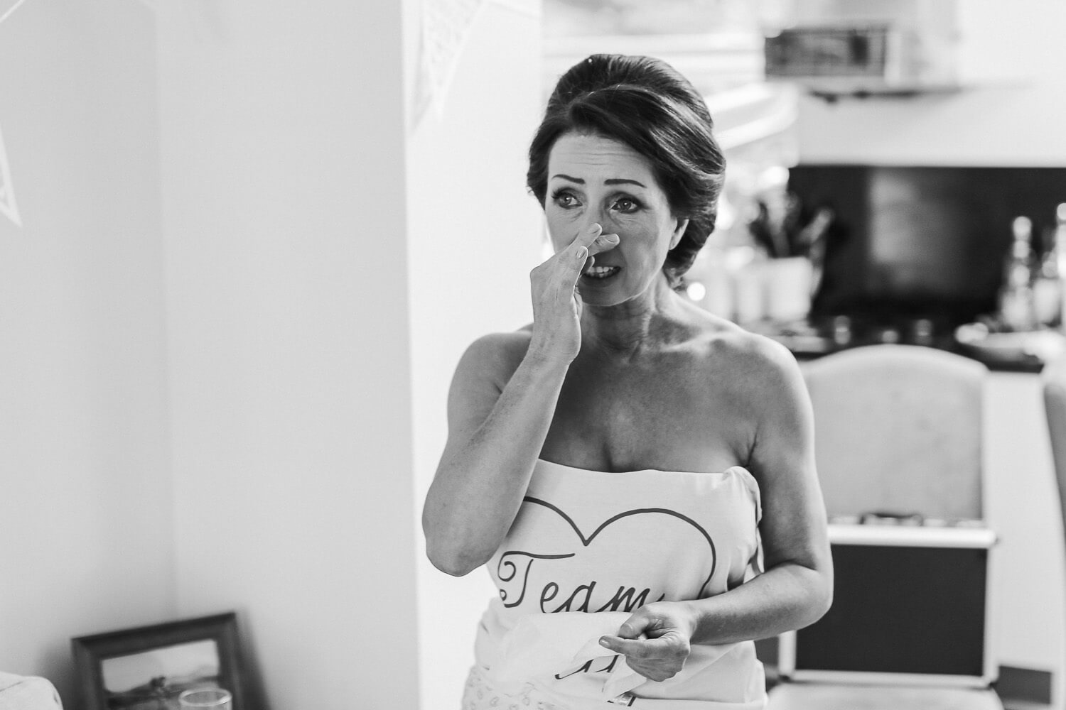 A mothers emotional reaction to sting daughter in Morilee wedding dress 30 James Street Liverpool wedding photography