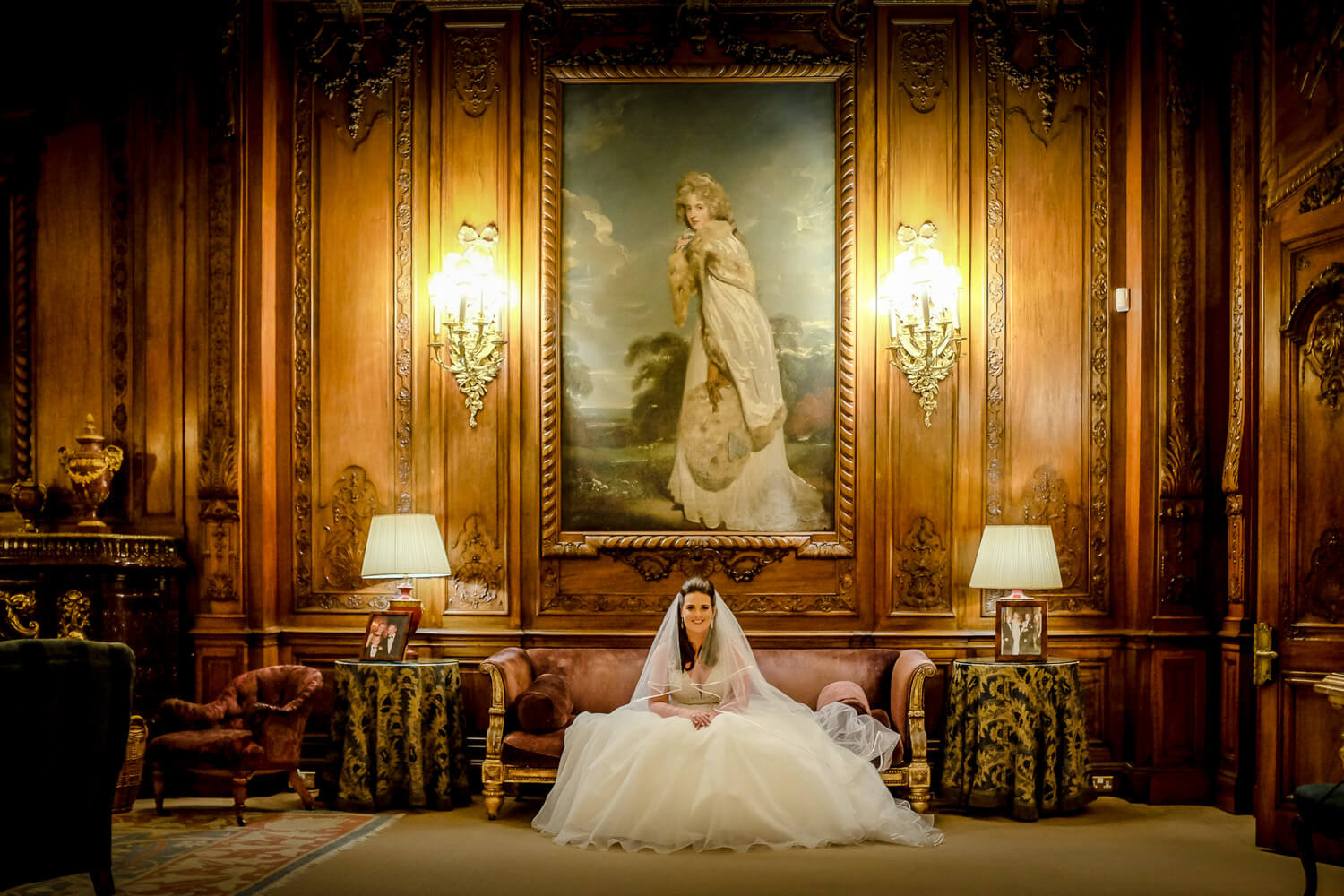 portrait of bride wearing essense of Australia wedding dress at Knowsley hall