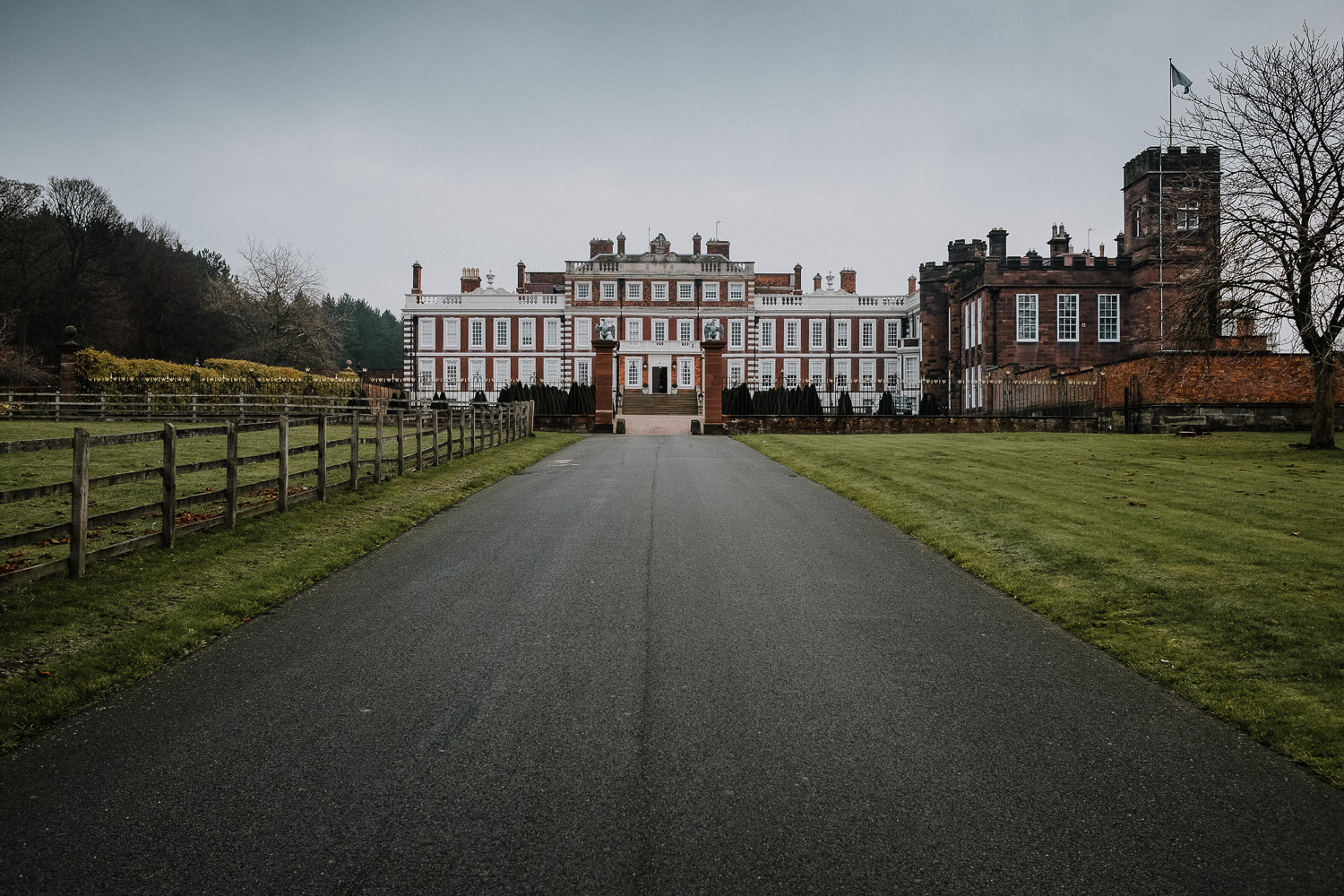 Drive way and Knowsley hall stately home wedding venue