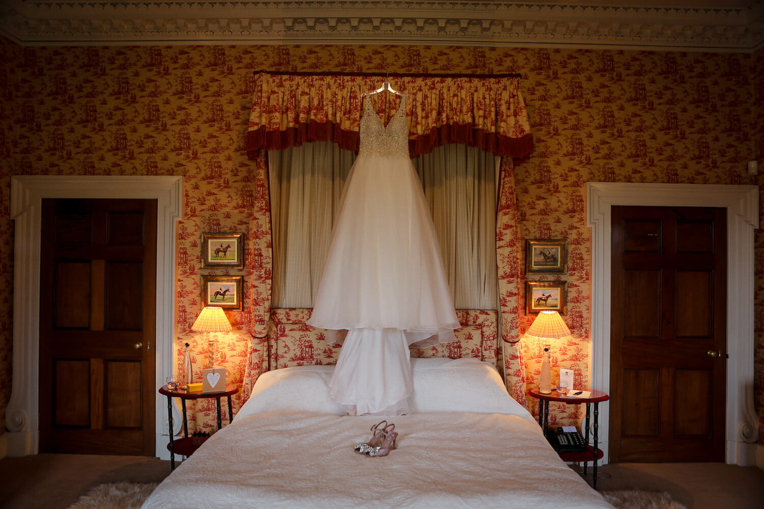 Essense of Australia wedding dress hanging up Knowsley hall