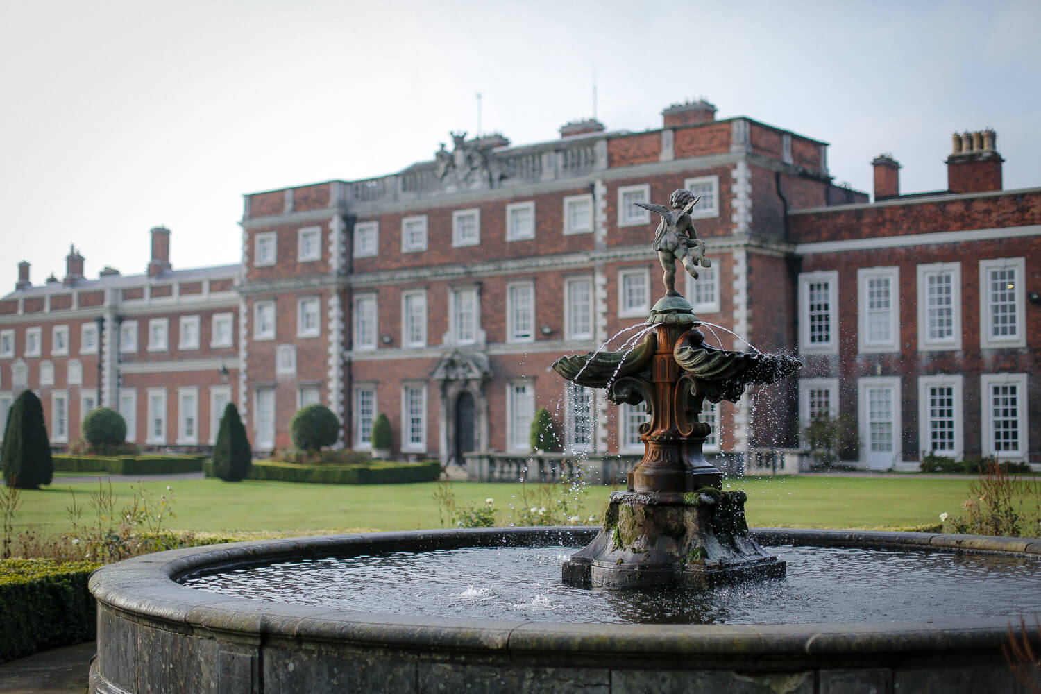 water fountain and Knowsley hall in background