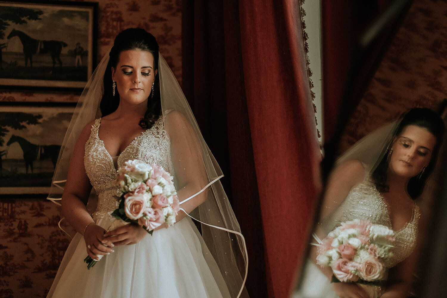 Bride in reflection Knowsley Hall wedding photography