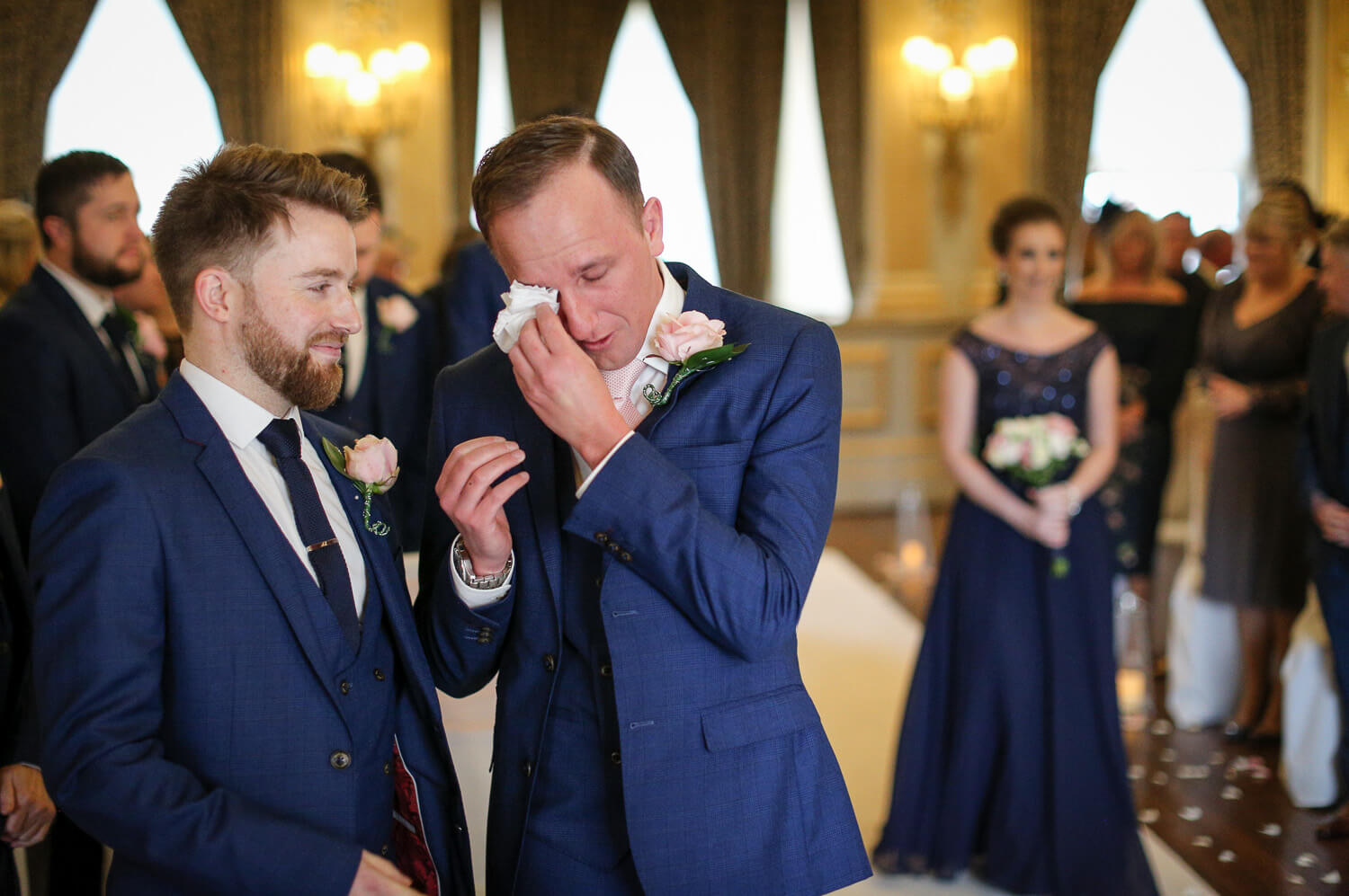 Groom crying Stucco Ball Room wedding ceremony Knowsley Hall wedding photography