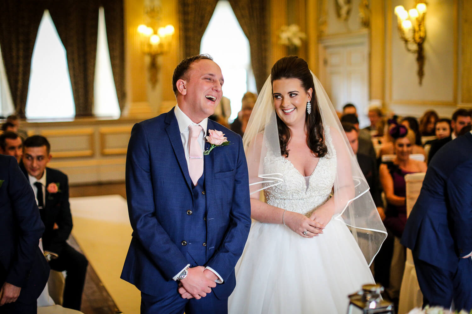 Stucco Ball Room wedding ceremony Knowsley Hall wedding photography