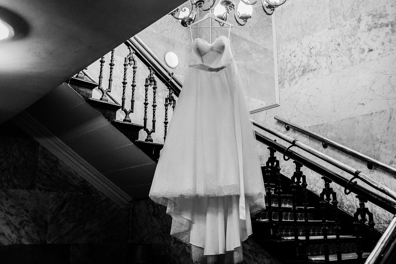 dress hanging up bride getting ready for Wedding at Sir Thomas Hotel Liverpool