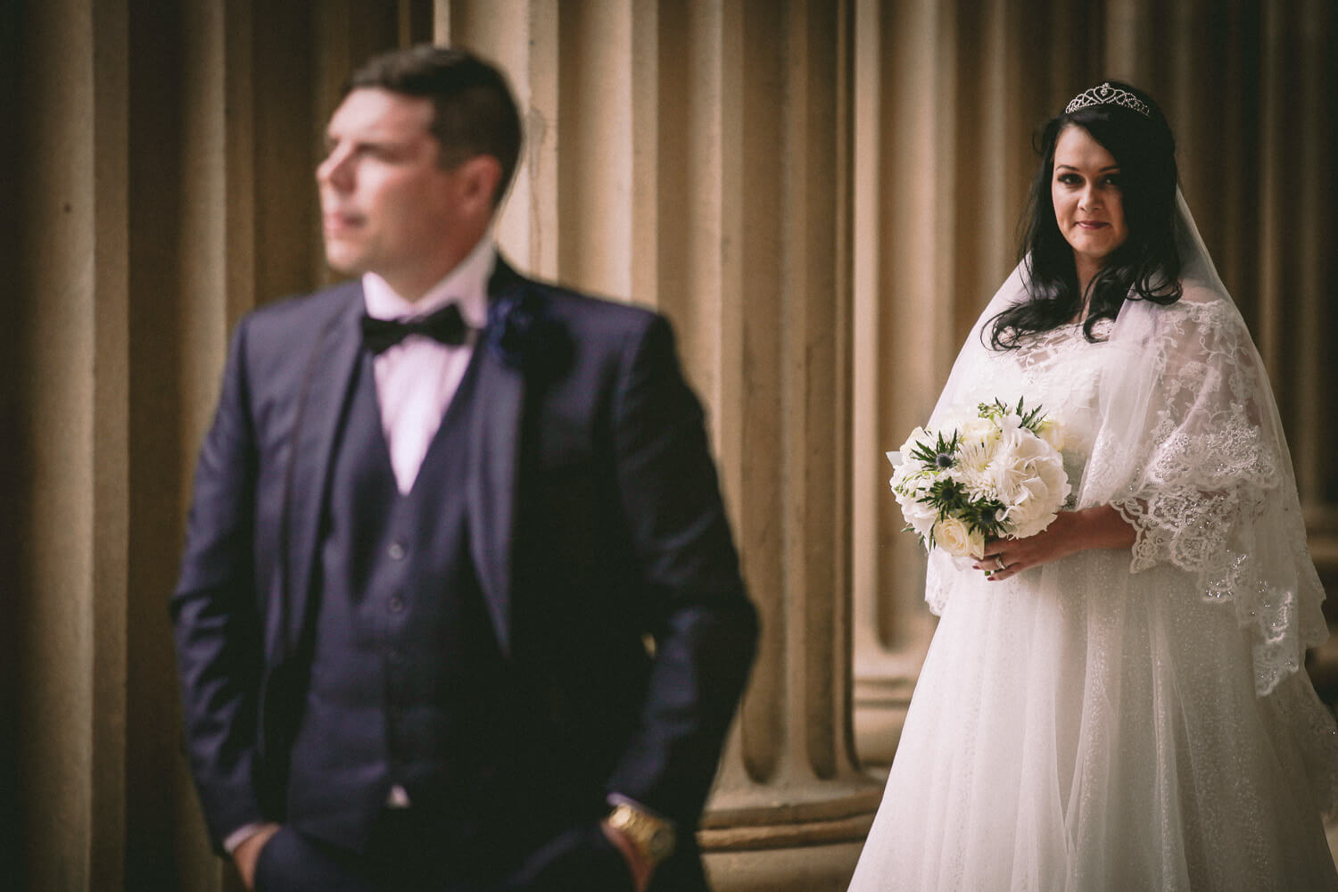 Portrait of bride and groom St Georges Hall Liverpool on wedding day