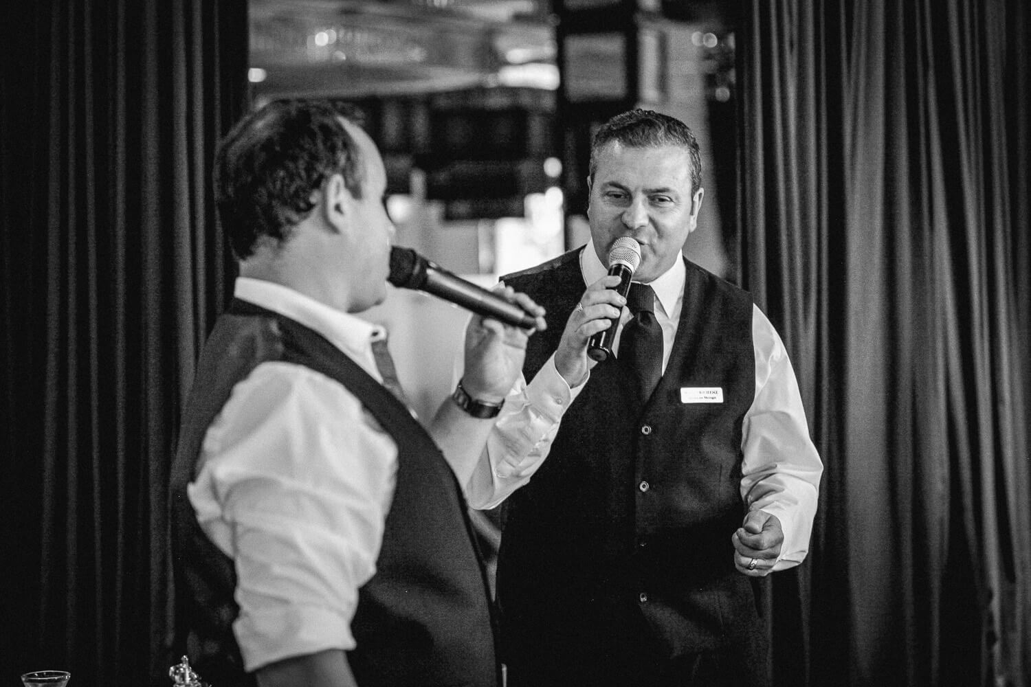 singing waiters Sir Thomas Hotel, Liverpool city wedding photographer