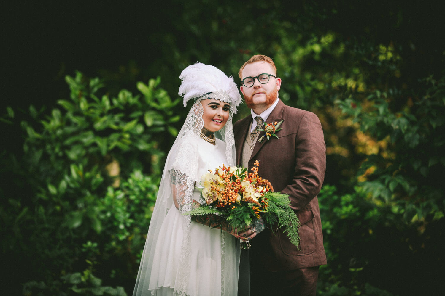 Portrait of vintage bride and groom