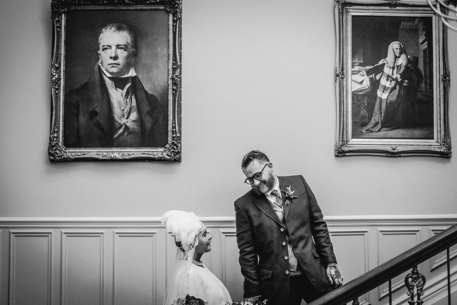 Vintage wedding photography bride and groom Ashfield House