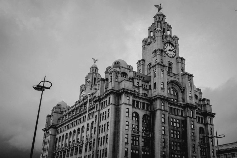 Black and white photo of The Venue Royal Liver Building Liverpool