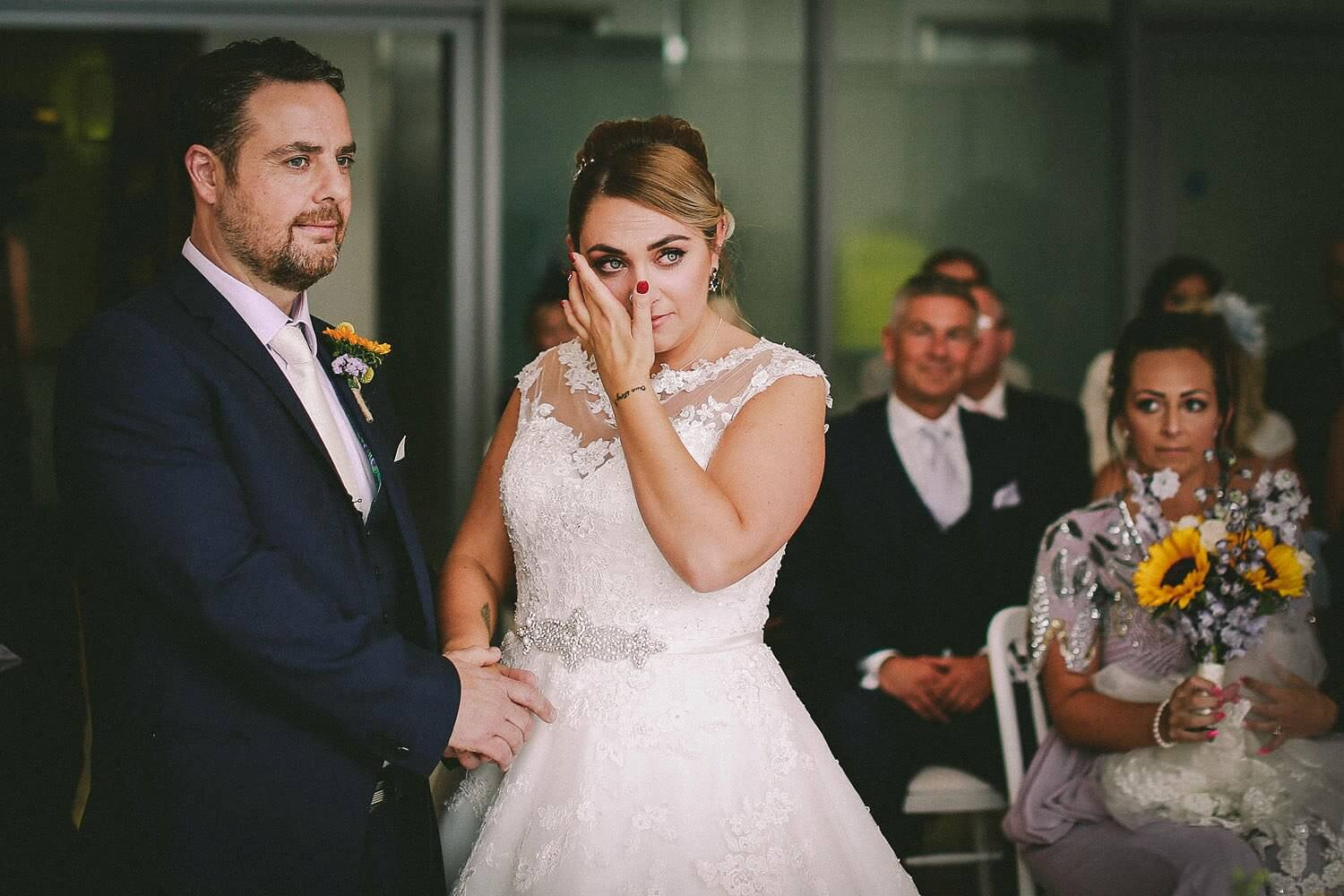 Bride crying during wedding ceremony Royal Liver Building wedding photography