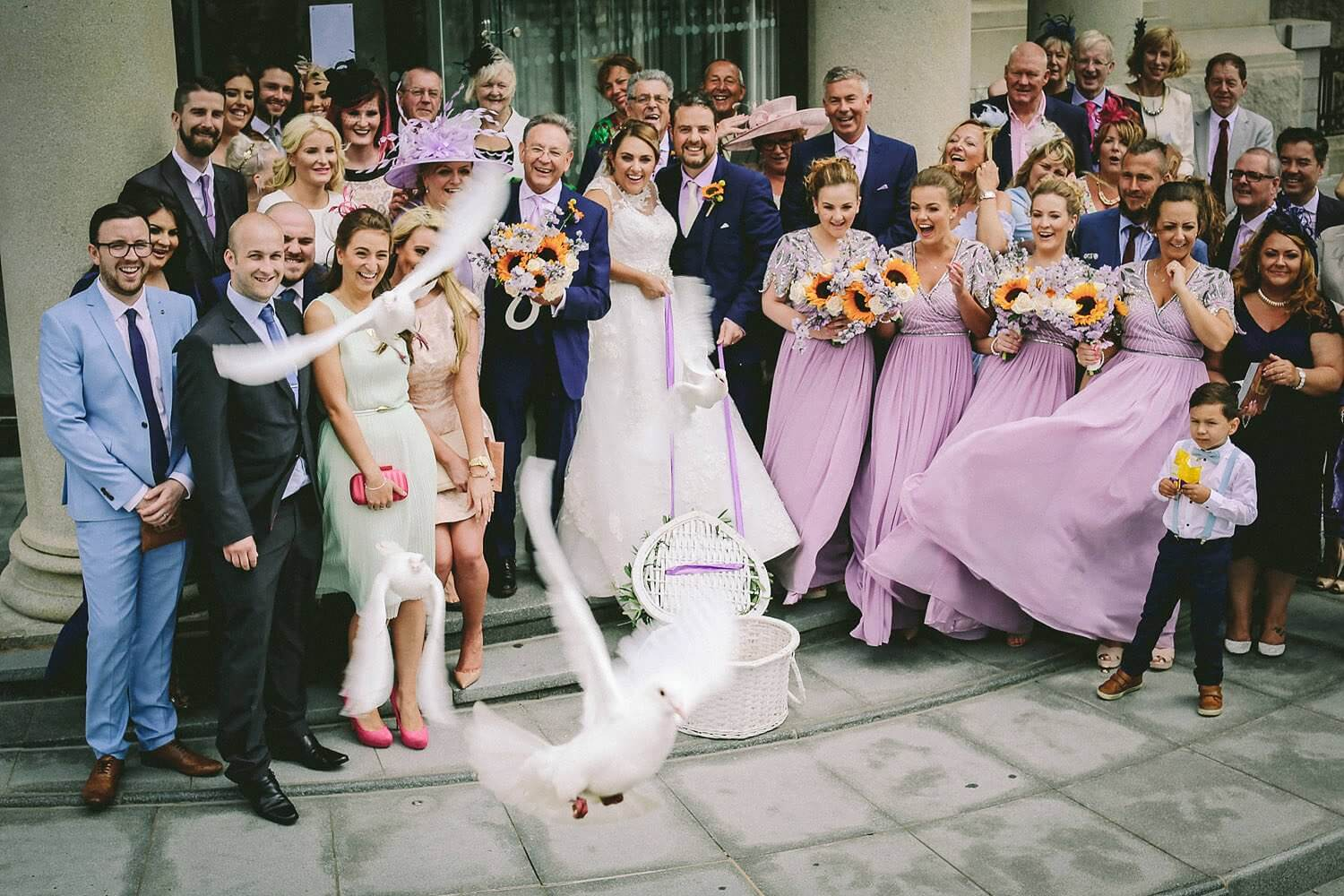 White dove Royal Liver Building wedding photography