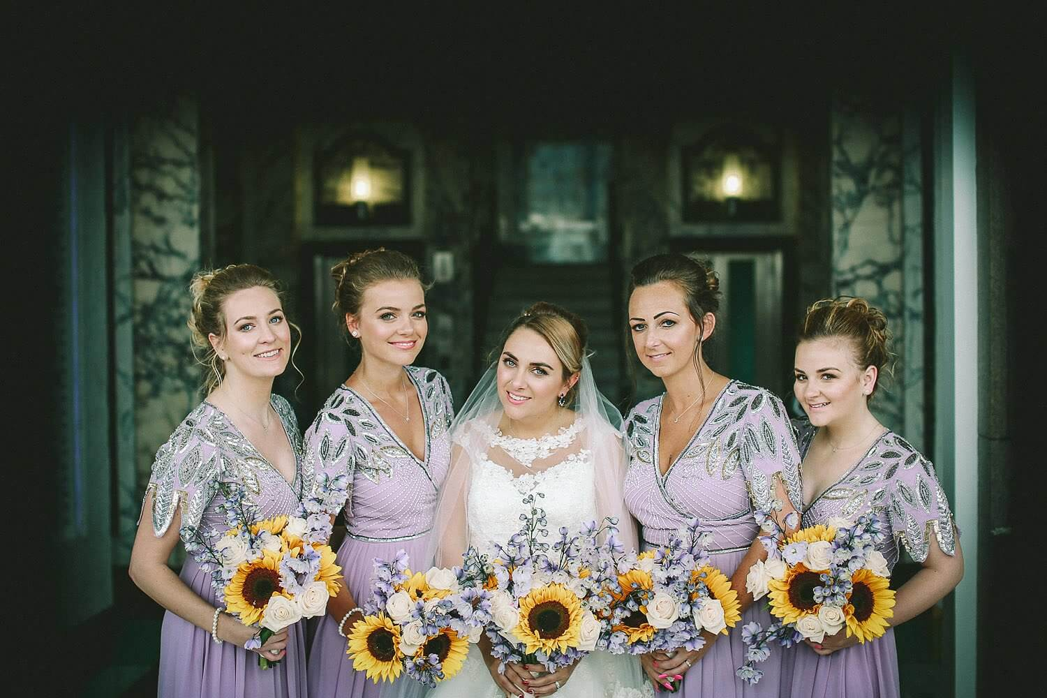 Bridesmaids and sunflowers Royal Liver Building wedding photography