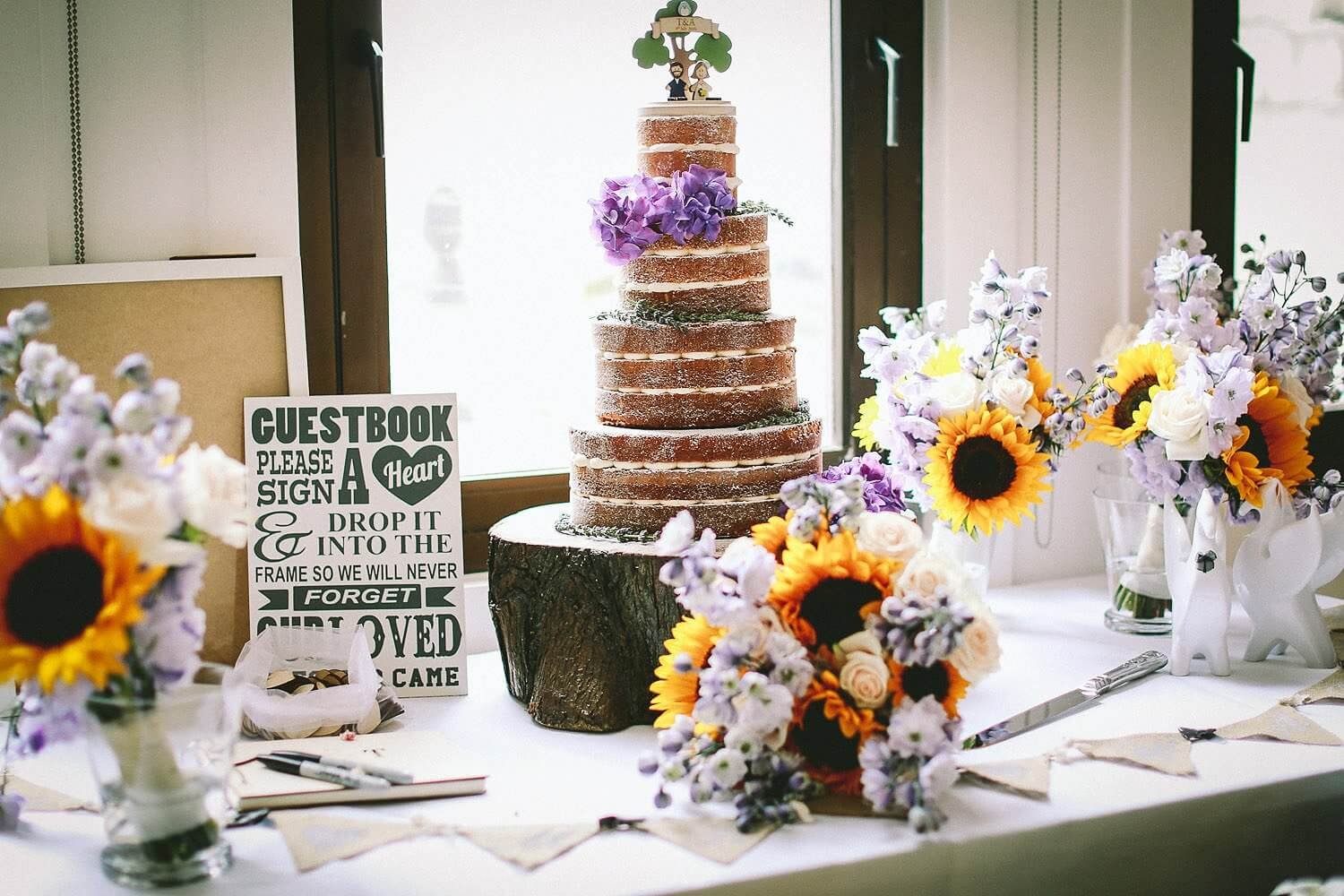 Rustic wedding cake at the Royal Liver Building wedding