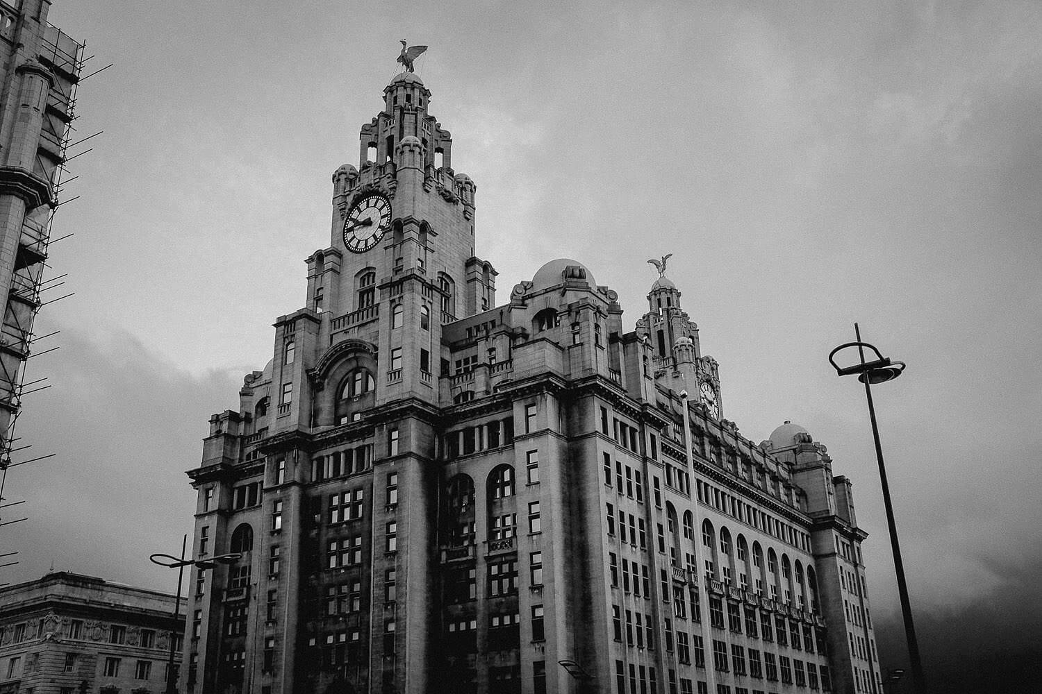 black and white photo of Royal Liver Building wedding photography