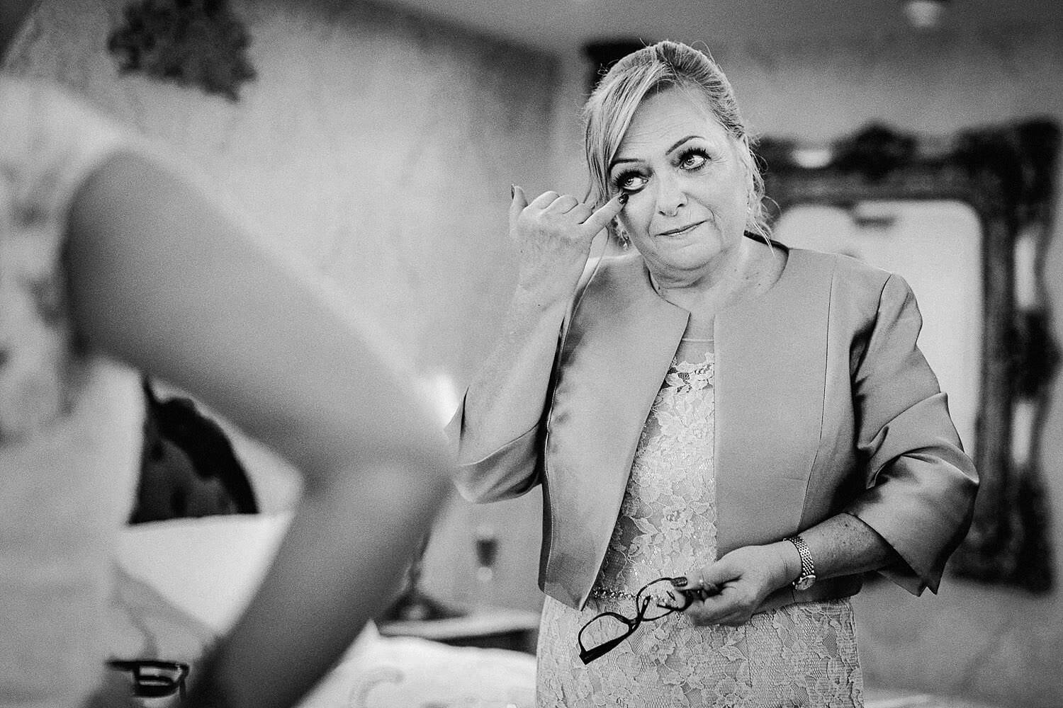 Mum whipping tear upon seeing daughter in wedding dress Royal Liver Building wedding photography