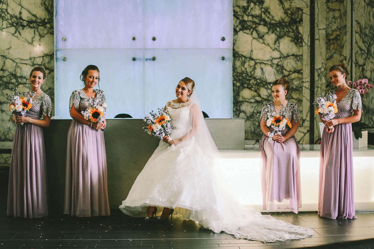 Bride and maids inside The Venue Royal Liver Building Liverpool