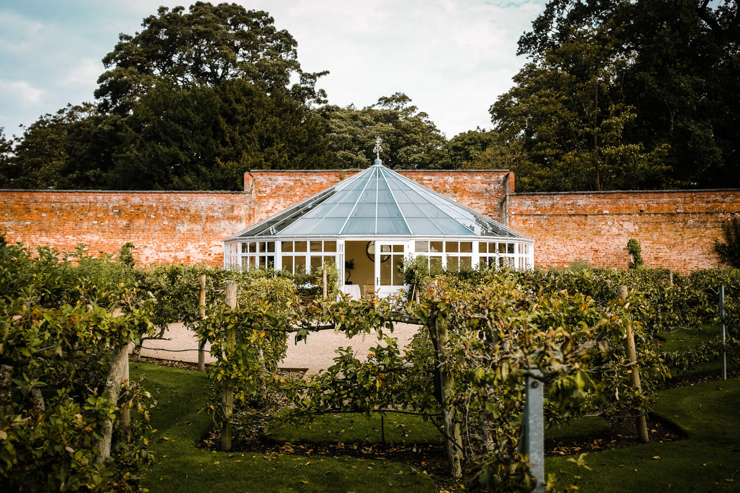 Edwardian Glass house and fruit maze Comberemere Abbey Cheshire wedding venue