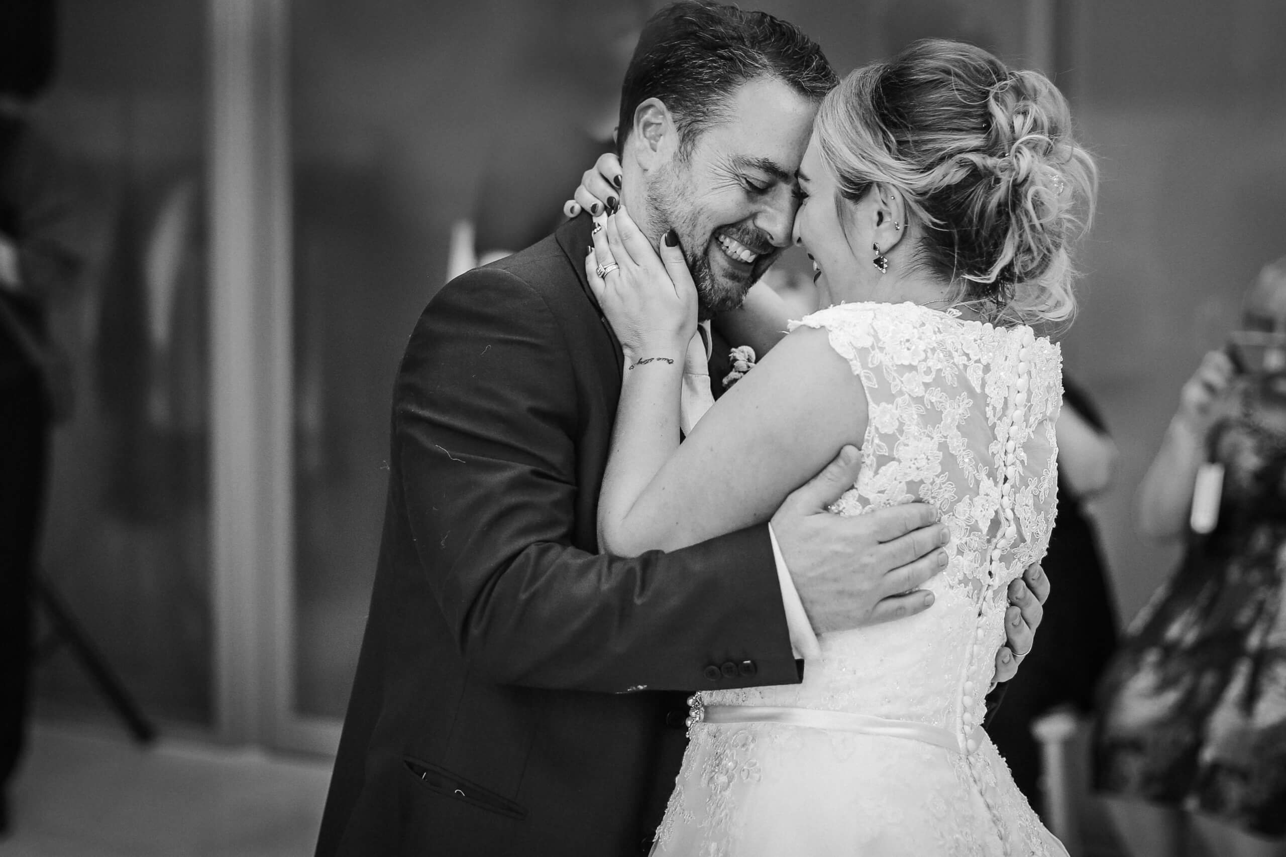 Bride and groom first dance photo Royal Liver Building Liverpool wedding photographer