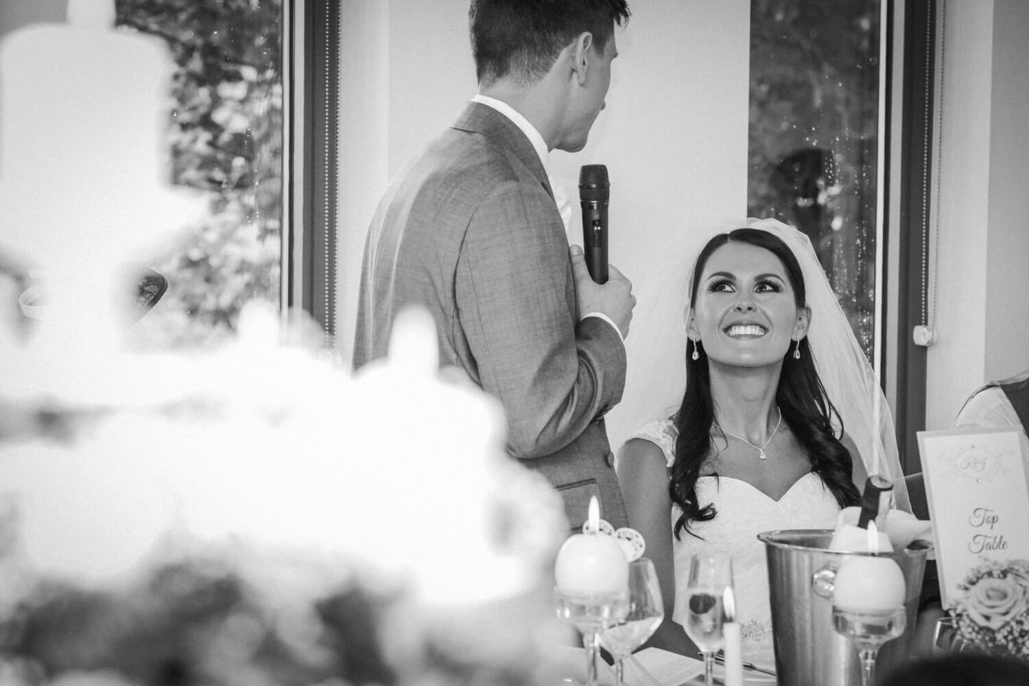 wedding speeches bride smiling
