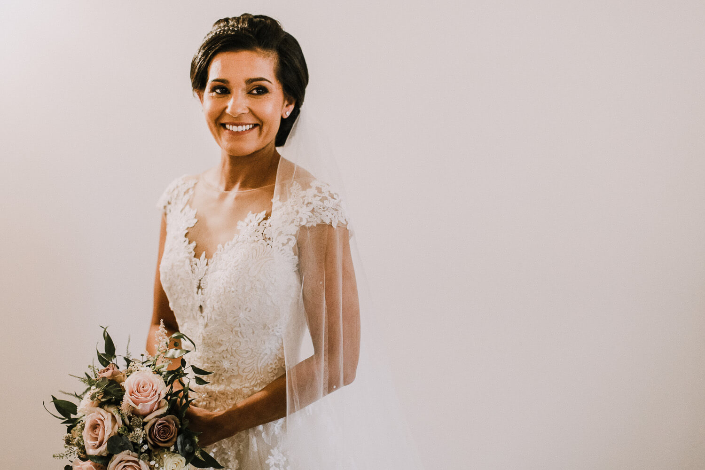 Portrait of bride on wedding morning Sandhole Oak Barn wedding photography