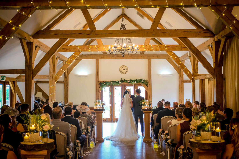 Room shot of Sandhole Oak Barn during ceremony