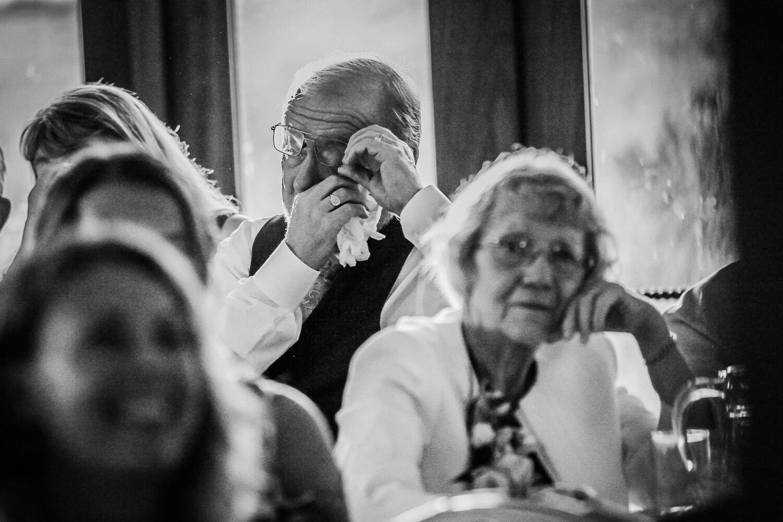 Man crying during wedding speeches at Sandhole Oak Barn