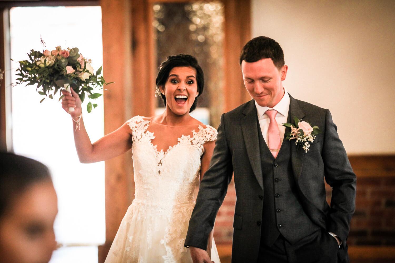 Happy bride and groom entrance