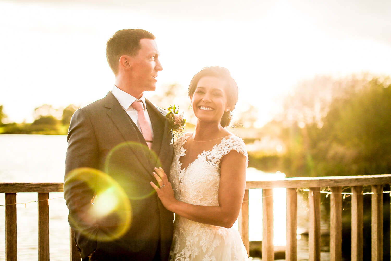 Sunset photo of bride and groom Sandhole Oak Barn wedding photography