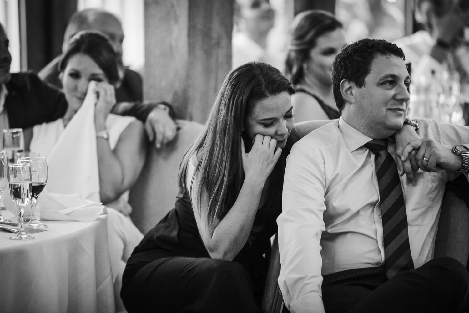 Emotional guests during wedding speech