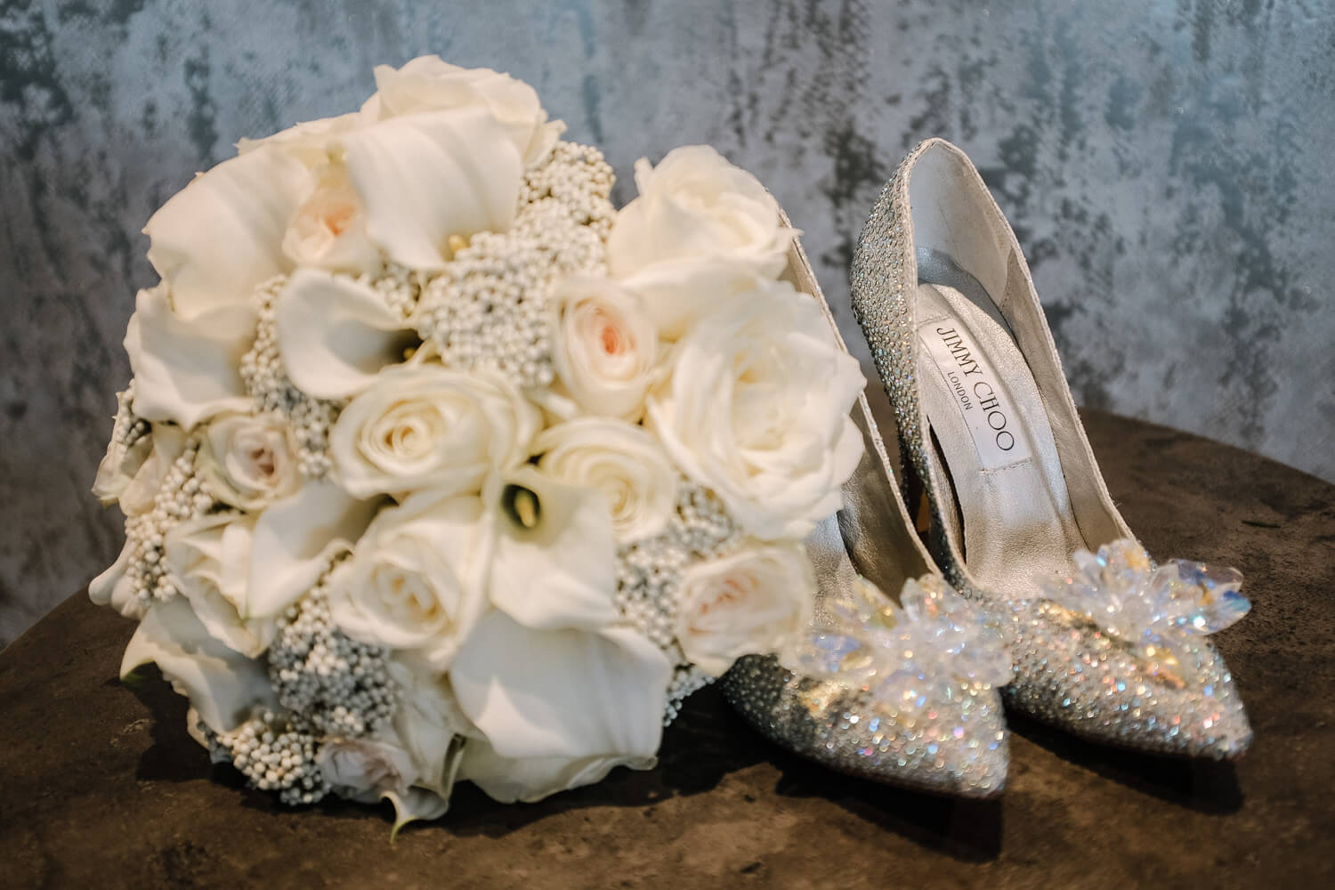 Jimmy Choo wedding shoes and flowers
