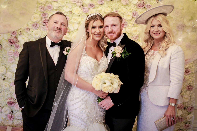 family portrait at wedding